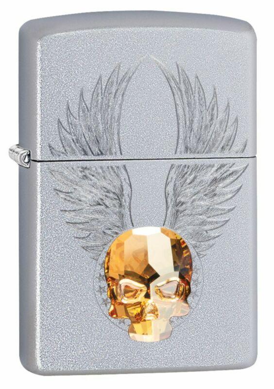 Zippo Gold Skull Design Satin Chrome Windproof Pocket Lighter, 49034