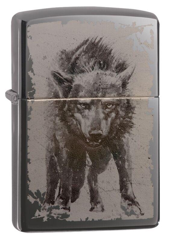 Zippo Photo Image Wolf Design Black Ice Windproof Pocket Lighter, 49073