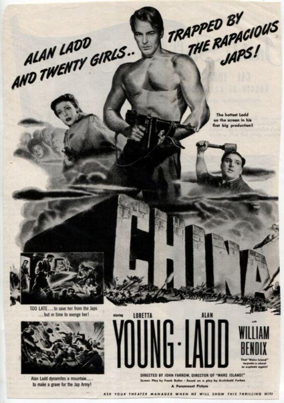 CHINA 1943 Movie Ad Alan Ladd Loretta Young VTG Magazine Print ad