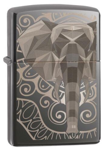 Zippo Windproof Lighter, Laser Engraved Fancy Elephant Design 49074, New In Box