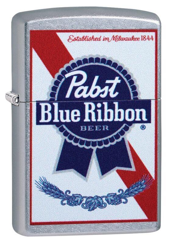 Zippo Pabst Blue Ribbon Label Street Chrome Windproof Pocket Lighter, 49078