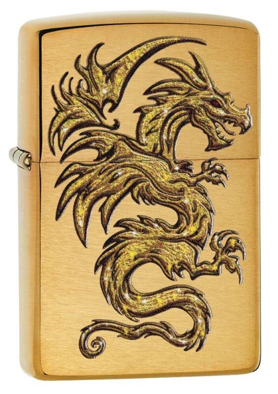 Zippo Dragon Design Brushed Brass Windproof Pocket Lighter, 29725