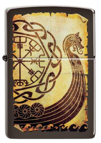 ZIPPO Viking Warship on A Torn piece of Parchment With Norse Rune, Brown, 49182
