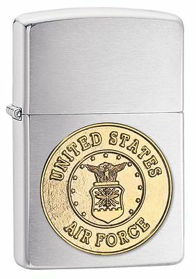 Zippo 280AFC, Air Force Emblem Brushed Chrome Finish Lighter, Full Size