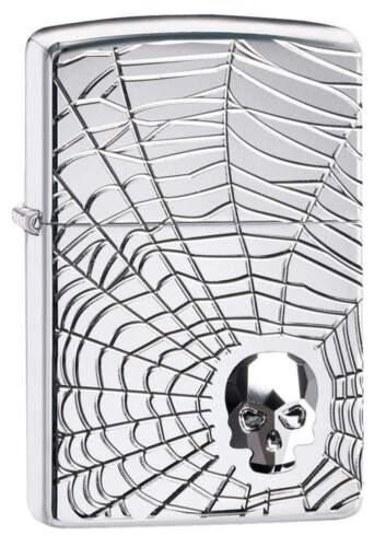 Zippo Armor Deep Carved Spider Web & Skull Emblem Lighter, 29931, New In Box