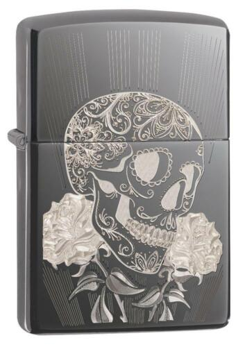 Zippo Windproof Lighter With Laser Engraved Fancy Skull Design 29883, New In Box