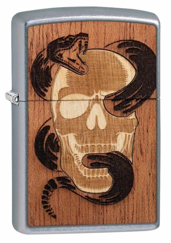 Zippo WOODCHUCK USA Skull & Snake Street Chrome Windproof Pocket Lighter, 49042