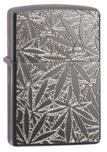 Zippo Armor Windproof Deep Carved Marijuana Leaf Lighter, 29834, New In Box