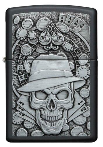 ZIPPO Gambling Skull, Cards, Roulette Wheel, Black Matte, Emblem Attached 49183