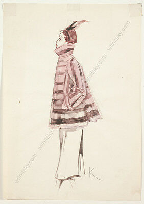 "Gret Kalous-Scheffer (1892-1975) ""Fashion Projects"", Seven Watercolors, 1950s"