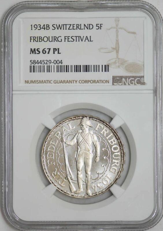 1934B Switzerland 5 Francs Fribourg Festival MS67 PL NGC 942947-47