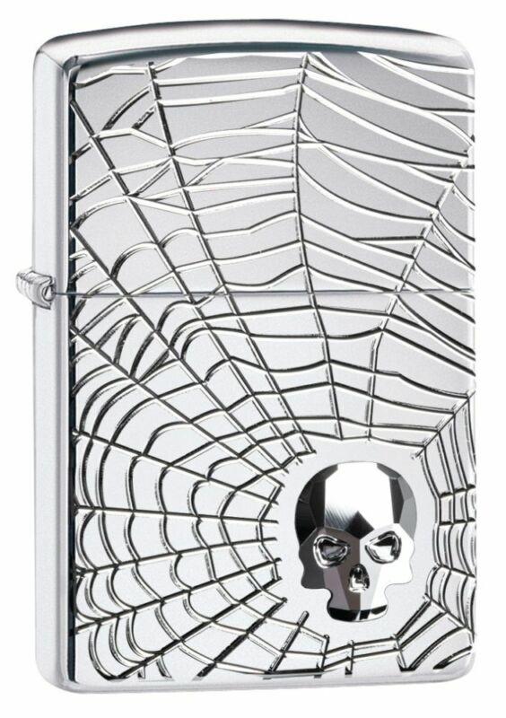 Zippo Spider Web Skull Design High Polish Chrome Windproof Pocket Lighter, 29931