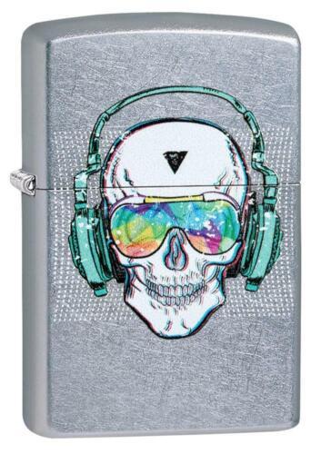 Zippo Windproof Skull With Headphones & Glasses Lighter, 29855, New In Box