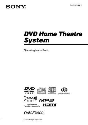 Sony DAV-FX500 Home Theater System Owners Manual