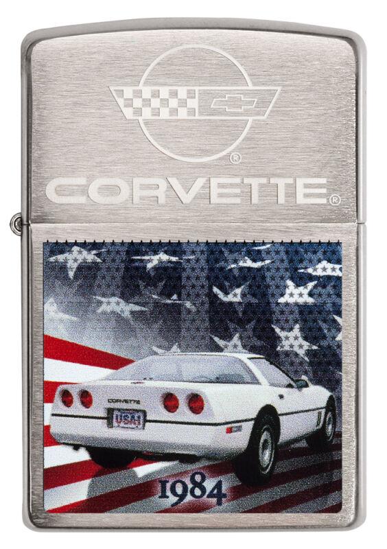 Zippo Chevrolet Corvette 1984 C4 brushed Chrome Custom Lighter Very Rare NEW