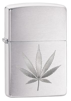 Zippo Windproof Laser Engraved Marijuana Leaf Lighter, 29587, New In Box