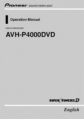 Pioneer AVH-P4000DVD AV Receiver Owners Manual