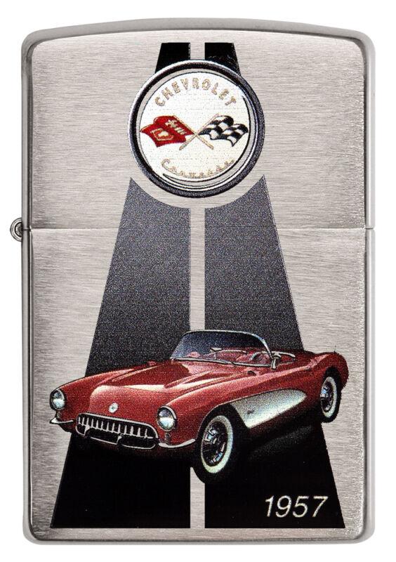 Zippo Chevrolet Corvette 1957 C1 brushed Chrome Custom Lighter Very Rare NEW