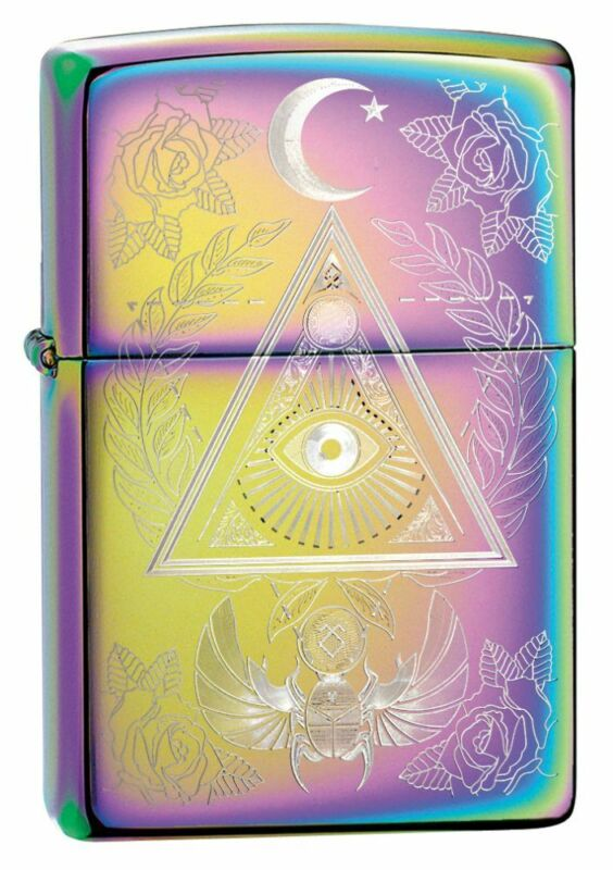 Zippo Eye of Providence Design Multi Color Windproof Pocket Lighter, 49061