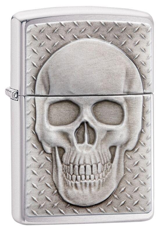 Zippo Skull with Brain Emblem Brushed Chrome Windproof Pocket Lighter, 29818