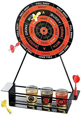 NEW Crystal Clear Shot Glasses Darts Bar Drinking Game Dart Board Set For Party
