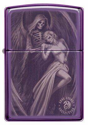 Zippo Anne Stokes Grim Reaper Skull Girl, High Polish Purple Lighter (High Polished Girl)
