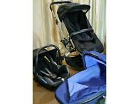 Quinny Buzz Pushchair + Quinny Foldable Carrycot + Maxi Cosy Cabriofix Carseat