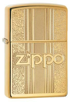Zippo Windproof Brass Lighter With Ornate Pattern & Zippo Lo