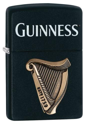 Zippo Windproof Lighter With Guinness Logo & Attached Emblem, 29676, New In Box