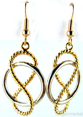 Silver & Gold Two Tone Figure Eight Diamond Cut Dangle Earrings Lead Nickel Free