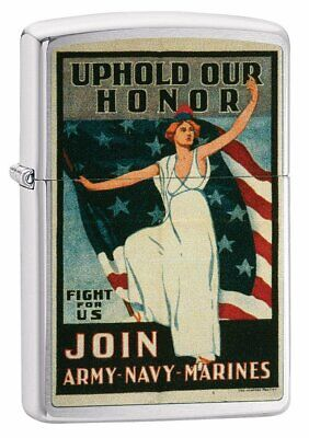Zippo Uphold Your Honor, US Army Navy Marines, Military Vintage Lighter #29599