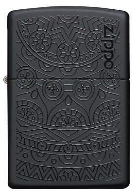 Zippo Windproof Black on Black Design Lighter, Tone on Tone, 29989, New In Box