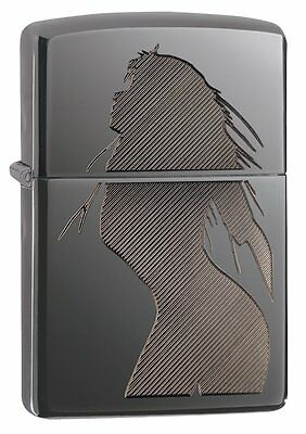 Zippo Lighter Black Ice Polished Finish Seductive Silhouette Pinup New Tin 2005