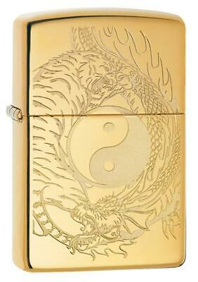 Zippo Windproof Lighter With Engraved Yin & Yang Tiger & Dragon 49024 New In Box