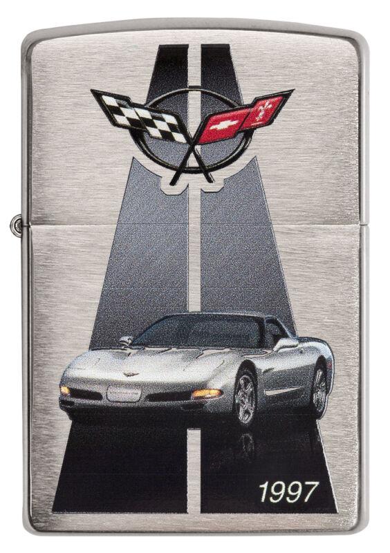 Zippo Chevrolet Corvette 1997 C5 brushed Chrome Custom Lighter Very Rare NEW
