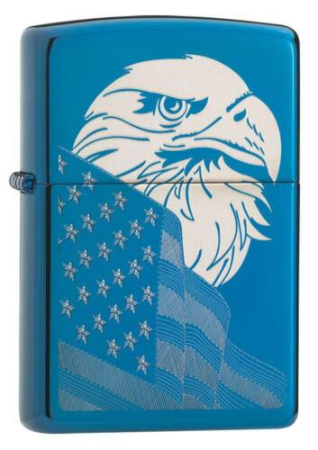 Zippo Windproof Engraved Bald Eagle & American Flag Lighter, 29882, New In Box