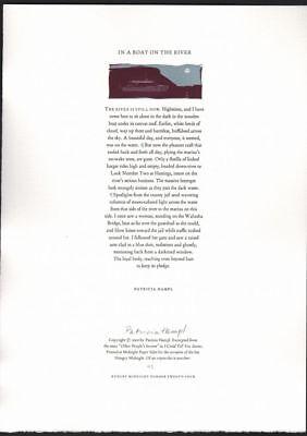 Patricia Hampl / In A Boat On The River broadside Signed 2000 Private Press