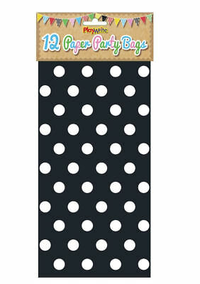12 Black Polka Dot Paper Bags - Spotty Treat Candy Sweet Loot Lunch Gift