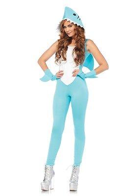 Deadly Shark Catsuit Adult Womens Costume, Blue, Leg Avenue - Shark Cat Suit