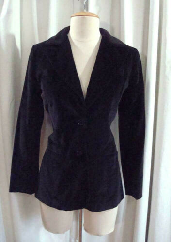 VTG 70s PANTHER Black COTTON VELVET Velveteen 1970s Fitted BLAZER JACKET XS / S