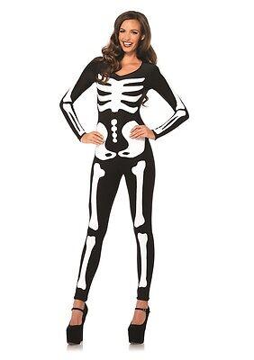 Glow in the Dark Skeleton Catsuit Adult Womens Costume HALLOWEEN ()