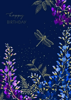 Notes & Queries Gold Foil Dragonfly and Plants on Deep Blue Birthday -