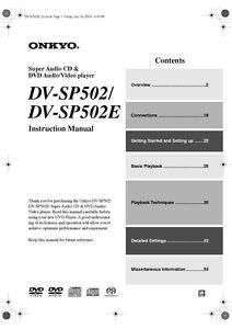 Onkyo DV-SP502 DVD Player DVD Players - AudioReview