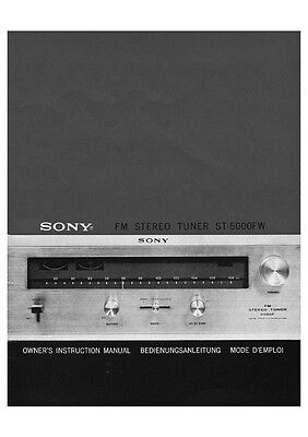 Sony ST-5000FW Tuner Owners Manual