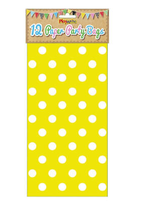 12 Yellow Polka Dot Paper Bags - Spotty Treat Candy Sweet Loot Lunch Gift