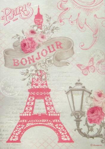Rice Paper for Decoupage Scrapbook Craft Sheet - Rose Tour Eiffel