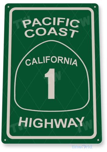 TIN SIGN Pacific Coast Highway 1 Street Metal Décor Art Road Beach Store A556