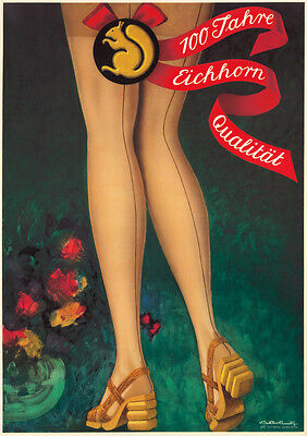 Original Vintage Poster Viktor Rutz Eichhorn Swiss Stockings 1940s Fashion LEGS