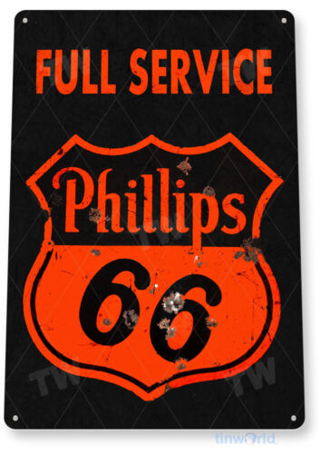 Phillips 66 Gas Oil Sign, Station, Garage, Auto Shop, Retro Rustic Tin Sign A760