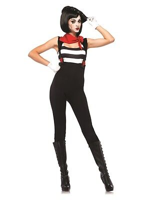 MARVELOUS MIME Adult Womens Costume HALLOWEEN Cute Clown Harlequin